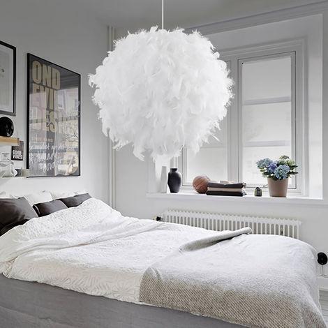 Lustre Suspension en Plume E27 30cm Blanc