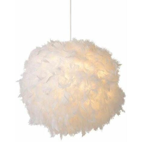 Lustre Suspension en Plumes 30 cm E27 40W Blanc pour Chambre ...