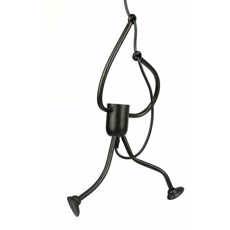 Lustre Suspension Fer Gens Design Petite Personne Créatif Luminaire pour Salon Chambre Enfant, E27 Noir