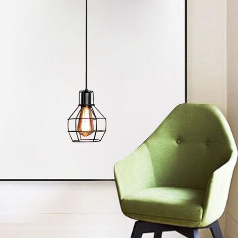 Lustre Suspension Forme Cage Fer Luminaire Style Industriel Rétro E27 pour Cuisine Couloir Lavabo Bar Restaurant Noir
