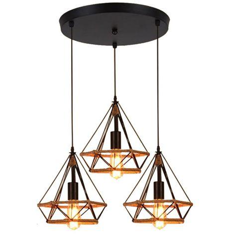 Lustre Suspension Industrielle 25cm en forme Diamant Corde de Chanvre Ajustable Luminaire pour Salle à Manger,Bar,Chambre