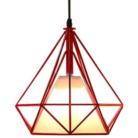 Lustre Suspension industrielle 25cm forme Diamant, Lampe de Plafond Abat-Jour?Rouge