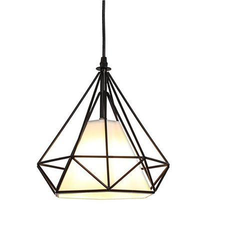 Lustre Suspension industrielle 25cm Lampe de Plafond Abat-Jour Noir
