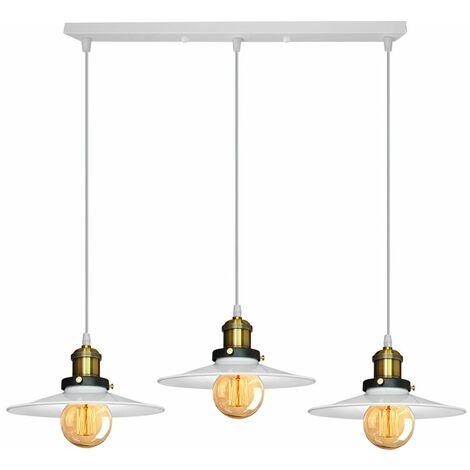 Lustre Suspension Industrielle 3 Douille Edison E27 Luminaire Design Vintage Métal Lampe de Plafond ,Blanc