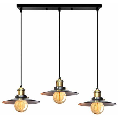 Lustre Suspension Industrielle 3 Douille Edison E27 Luminaire Design Vintage Métal Lampe de Plafond ,Noir
