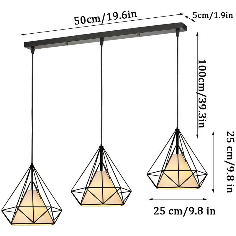 Lustre Jour 25cm Pour 3 Mtal Barre Luminaire Suspension Cuisine Salon Forme En Abat Lampes E27 Chambre Industrielle Diamant dhQxsrBtC