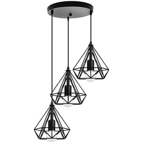 Lustre Suspension Industrielle Cage diamant Vintage E27 , Lampe de Plafond Abat-Jour Luminaire pour Restaurant Bar Café ,Noir