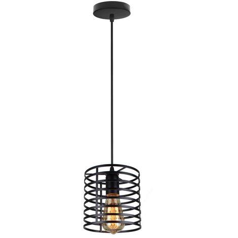 Lustre Suspension Industrielle Cage Fer forme Cylindre Luminaire E27 pour Décor Restaurant Salle Chambre, Noir