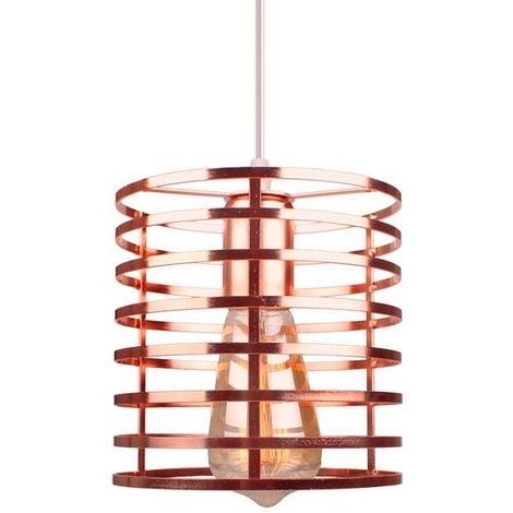 Lustre Suspension Industrielle Cage Fer forme Cylindre Luminaire E27 pour Décor Restaurant Salle Chambre, Or rose