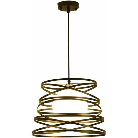 Lustre Suspension Industrielle Cage Fer forme Ressort 30CM Luminaire pour Décor Restaurant Salle Chambre Noir