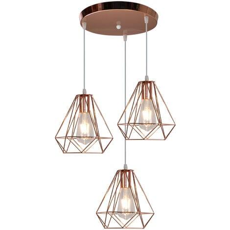 Lustre Suspension Industrielle Cage forme Diamant 3 Luminaire , E27 Or rose