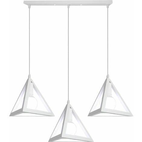 Lustre suspension industrielle cage forme triangulaire fer abat-jour Blanc luminaire pour salon salle à Manger suisine bar