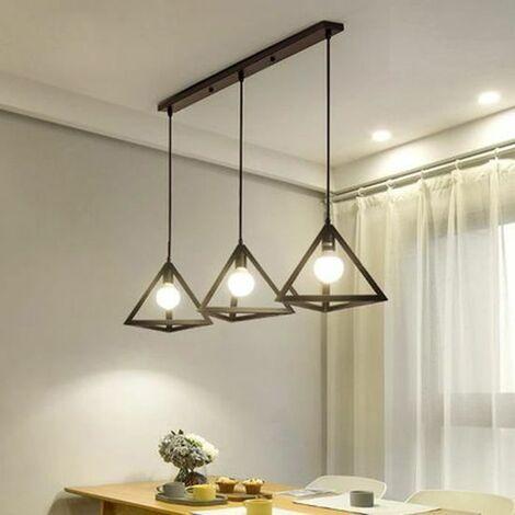 Lustre suspension industrielle cage forme triangulaire fer abat-jour luminaire pour salon salle à Manger suisine bar Noir