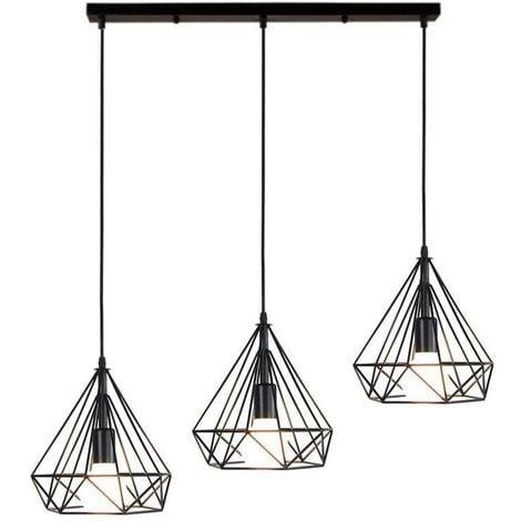 Lustre Suspension Industrielle de 3 lampes, Plafonnier en Métal Fer Abat-Jour forme diamant Luminaire pour Salon Salle à Manger Bar, E27 Noir