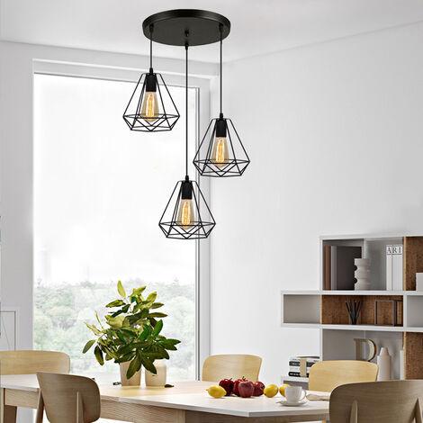 Lustre Suspension Industrielle E27 LED 40W ?20cm Cage Diamant Forme Style Vintqge Eclairage Noir