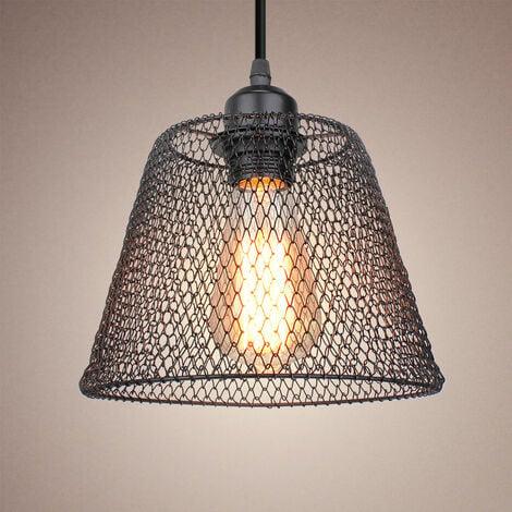 Lustre suspension industrielle en métal cage 20cm style rétro creative corde réglable lumière pour salon café restaurant chambre , E27 Noir
