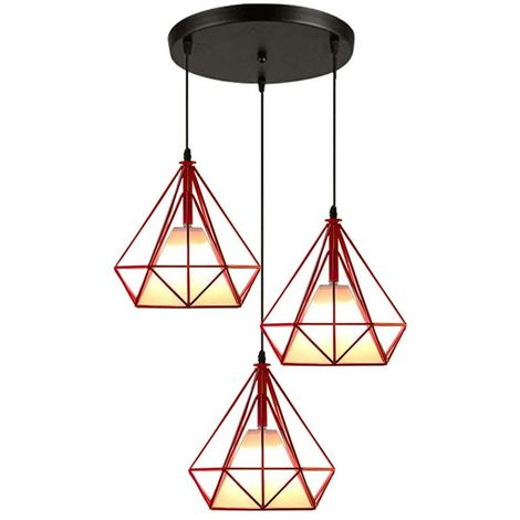Lustre suspension industrielle luminaire forme diamant contemporain disque 3 lamps abat-jour E27 25cm pour salon cuisine salle à manger, Rouge