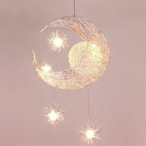 Lustre Suspension Industrielle Lune �toiles LED Plafonnier Luminaire Aluminium avec 5 Ampoules pour Enfants Chambre (Lumi�re blanche chaude)