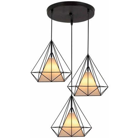Lustre Suspension Industrielle M?tal Luminaire Abat-jour forme Diamant 3 Lampes 25cm E27 Noir