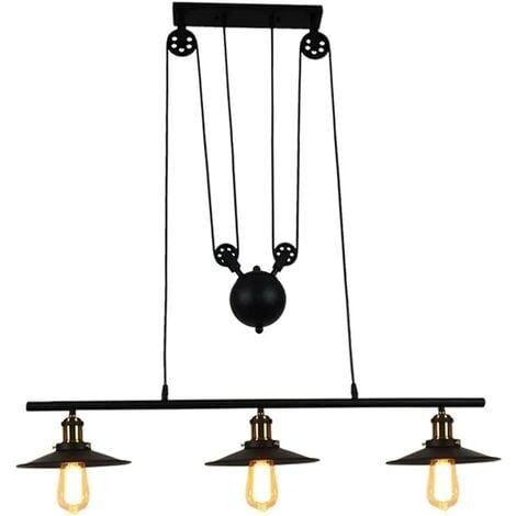 Lampe Lustre Piattino Plafonnier Poulie Triple Suspension 3 Industrielle E29WDHYI