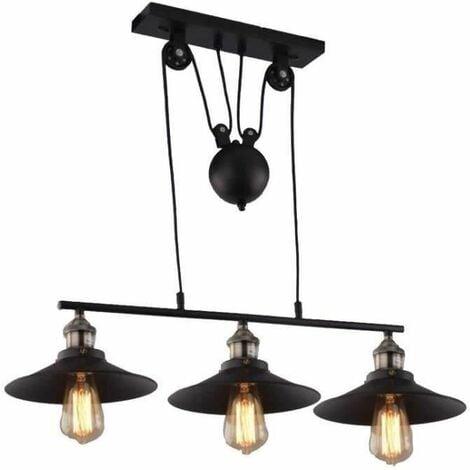 Lustre Suspension Industrielle Poulie 3 Lampes Plafonnier En Metal