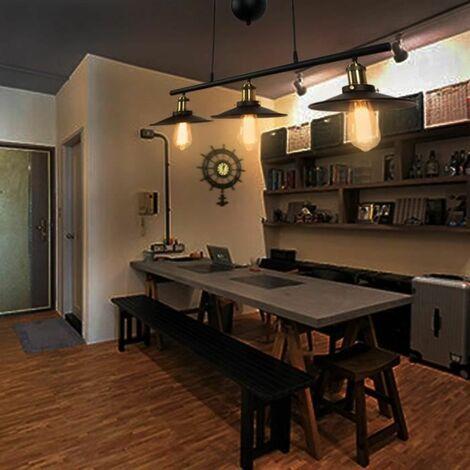 Lustre Suspension Industrielle Poulie 3 Lampes Plafonnier en Métal Fer Luminaire pour Salon cuisine bar restaurant