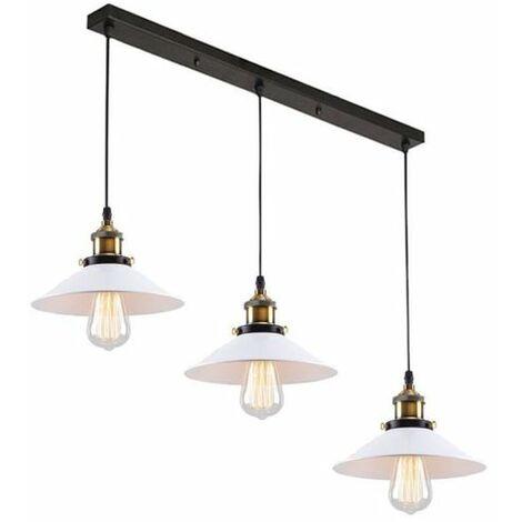 Lustre Suspension Industrielle Style Vintage, Lampe de Plafond Edison 3 Têtes E27 Luminaire Abat-Jour, Blanc