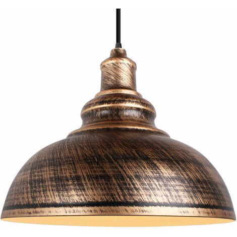 """main image of """"Lustre Suspension Industrielle Vintage E27 290mm Lampe Plafonniers Retro Abat-jour pour Cuisine Salle à manger Salon Chambre Restaurant Bronze"""""""