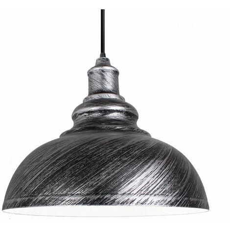 Lustre Suspension Industrielle Vintage E27 290mm Lampe Plafonniers Retro Abat-jour pour Cuisine Salle à manger Salon Chambre Restaurant Gris argenté