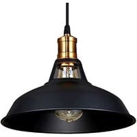 Lustre Suspension Industrielle Vintage E27 Lampe Plafonniers Retro Abat-jour pour Cuisine Salle à manger Salon Chambre Restaurant, Noir