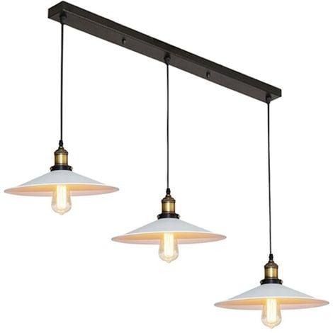 Lustre Suspension industrielle vintage en métal fer rétro abat-jour luminaire 22cm lampe plafonnier corde ajustable ,E27 Blanc