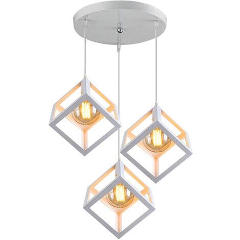 Lustre Suspension LED 3 Lampe Cube Carré en Métal Luminaire Design Industrielle Eclairage Plafond Lumiaire Salon Cuisine Couloir Blanc