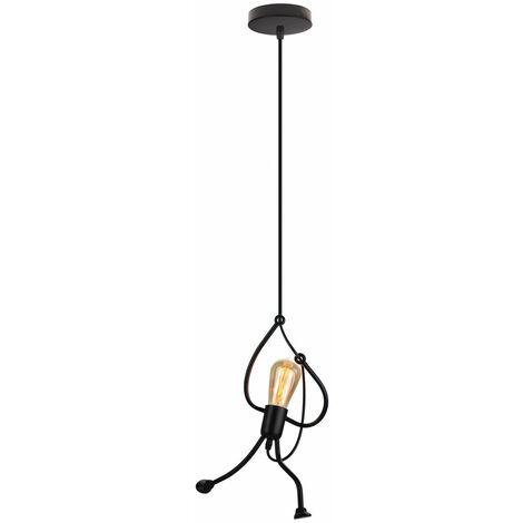 Lustre Suspension LED Mode Moderne Créatif Simplicité Luminaire pour Chambre Eclairage Lampe Douille E27 - Noir