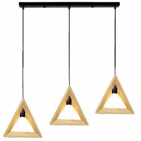 """main image of """"LUSTRE - SUSPENSION LED Simple triangle des arts créatifs bois personnalisé lustre 30CM 220V 40W"""""""