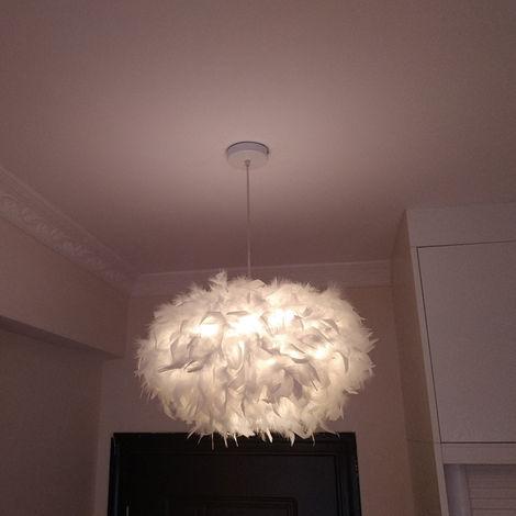 LUSTRE - SUSPENSION Luminaire Abat-jour Plumes en Boule Lampe Suspension E27 Blanc