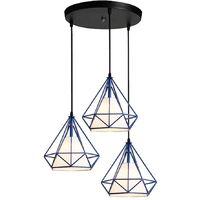 Lustre Suspension Luminaire Industrielle Cage forme Diamant en Métal Fer Contemporain 25cm E27 pour Salle à Manger,Bar,Chambre, Bleu