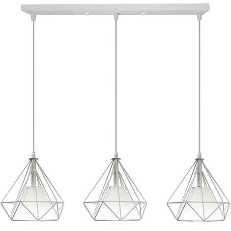 Lustre Suspension Luminaire Industrielle Géométrie Nid Cage diamant Blanc, Lampe de Plafond Vintage Abat-Jour pour Restaurant Bar Café