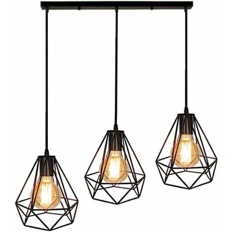 LUSTRE - SUSPENSION Pôle long 3 têtes Plafond Cage Métallique d'Abat-Jour de Lustre en Forme de Diamant Style Minimaliste