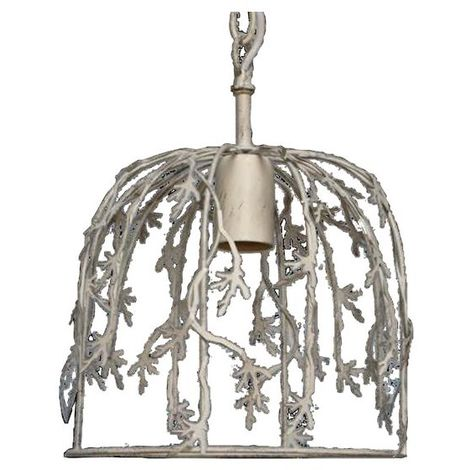 Lustre Suspension Vegetal blanc vieilli