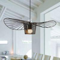 Lustre Suspension Vintage E27 LED 40W ?40cm Chapeau Forme Style Industrielle Eclairage Noir
