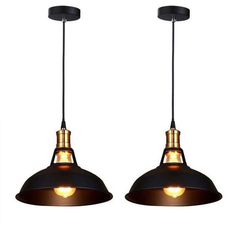 Lustre Suspension Vintage Industrielle Fer Luminaire Abat-jour Métal Noir( Lot de 2)