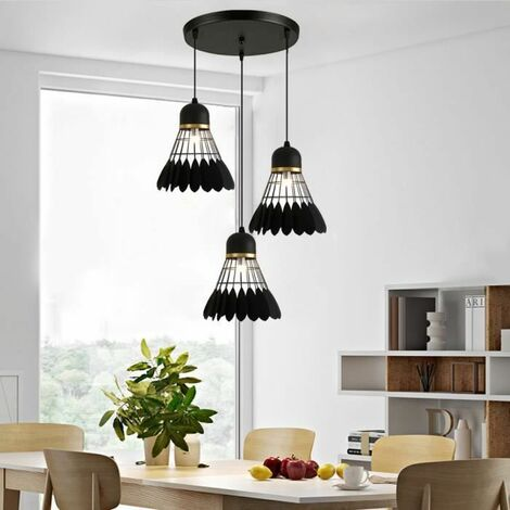 Lustre Suspensions Abat-Jour forme badminton Lampe de plafond Métal Corde Ajustable Décoration pour restaurant Chambre Salon E27 Noir