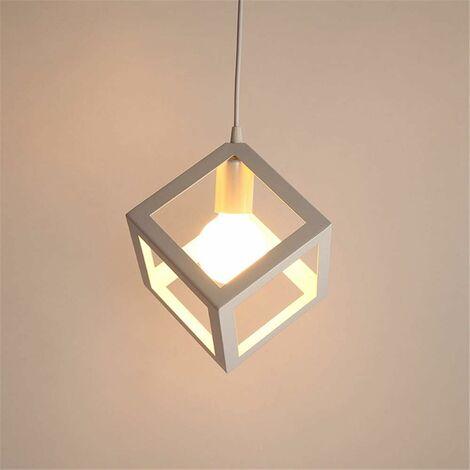 Lustre Suspensions en forme de cube, Suspension Luminaire Industrielle,Vintage Industrielle Plafonnier en Créatif Métal Base E27 (Ampoules non incluses)