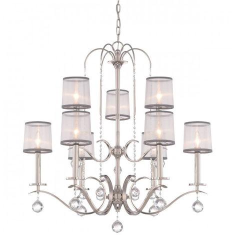 Lustre Whitney, argent impérial, organza blanc et gris, décor cristal, 9 éclairages