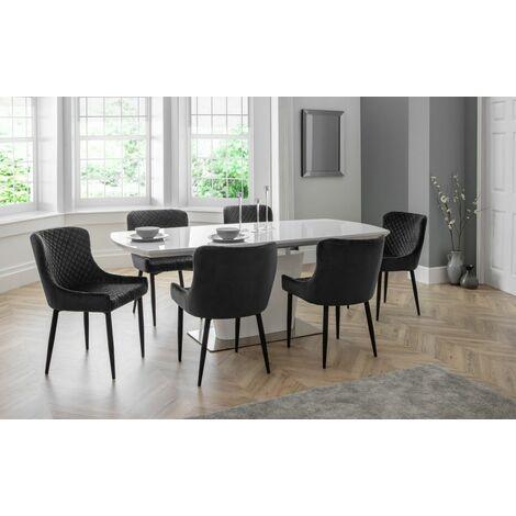 Luthor Velvet Chair Grey/Black