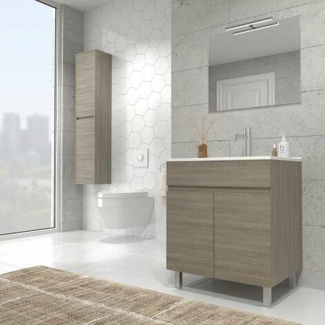 Luup Mueble de baño incluye lavabo ceramico 60 cms. 2 Puertas. Estepa