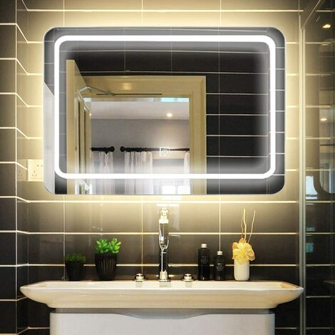 LUVODI Badspiegel mit LED Beleuchtung, 80x60cm modern Badezimmerspiegel, dimmbar Wandspiegel mit Touchschalter, 3000-6000K, IP44 Energiesparend