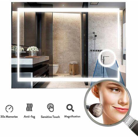 LUVODI Miroir Salle de Bain Anti buée 80 x 60 cm avec Eclairage Intégré Miroir Mural LED Grossissant pour Maquillage Rasage