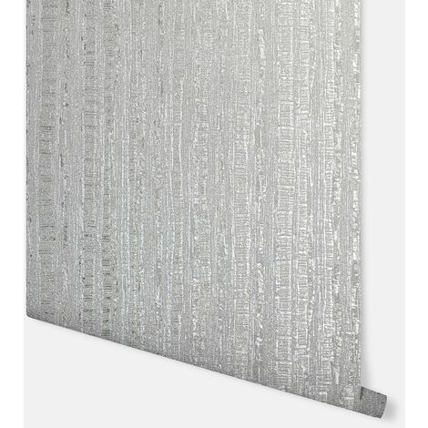 Luxe Industrial Stripe Silver Wallpaper - Arthouse - 295800