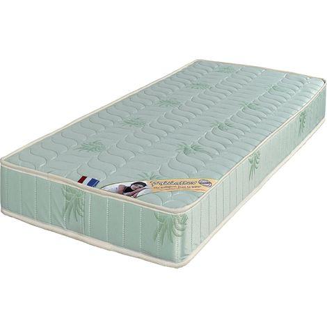 Luxe Matelas Trés Ferme Mousse Poli Lattex Indéformable - Face Laine Merinos 100% -Tissu à l'Aloé Vera - 19 cm